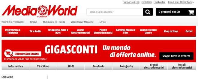 Gigasconti MediaWorld, tanti sconti solo online per tutto novembre