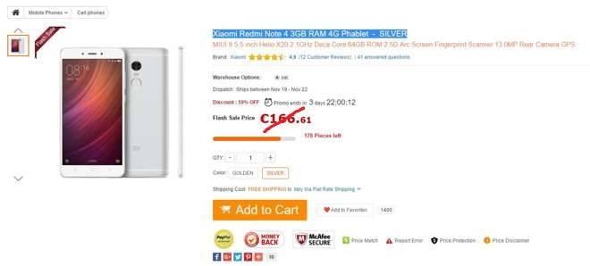 Gearbest coupon: Offerta bomba per Xiaomi Redmi Note 4 a soli 161€