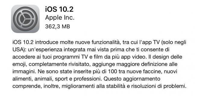 Apple rilascia ufficialmente iOS 10.2