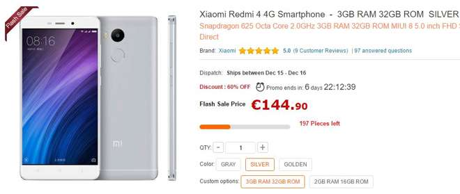 Gearbest coupon: Offerta bomba per Xiaomi Redmi 4 Pro a soli 132€ in numero limitato