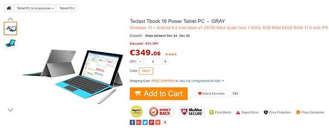 Gearbest coupon: Offerta bomba per Teclast Tbook 16 Power 8GB RAM a soli 272€