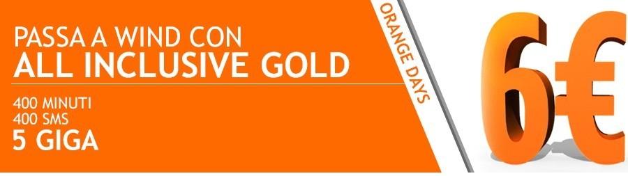 Wind All Inclusive Gold di nuovo disponibile: 400 minuti ed SMS, 5GB di internet a 6 euro