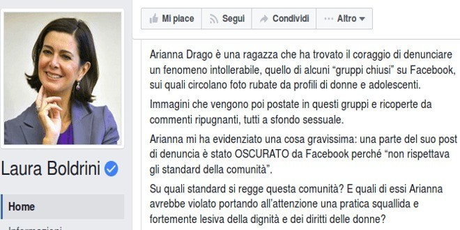 "Boldrini VS Facebook: ""censura chi denuncia"""