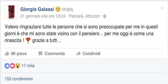 Sopravvissuta al crollo di Rigopiano ringrazia su Facebook e viene insultata