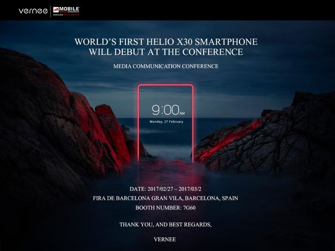 Vernee annuncia per il MWC 2016 il primo smartphone con Helio X30