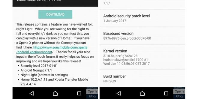 Sony Xperia X, nuovo aggiornamento concept beta inserisce la modalità notturna