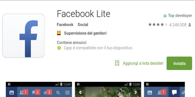 Facebook Lite sbarca in Italia