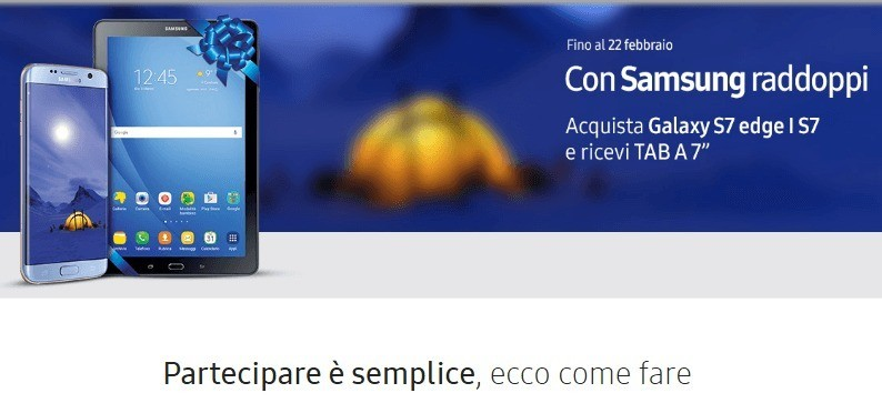Galaxy Tab A gratis acquistando un Galaxy S7 o S7 edge