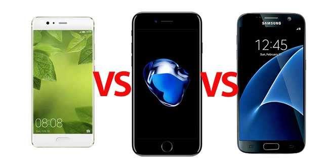 Huawei P10 vs Apple iPhone 7 vs Samsung Galaxy S7: specifiche a confronto
