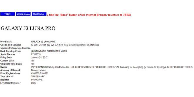 "Samsung registra il marchio ""Galaxy J3 Luna Pro"""