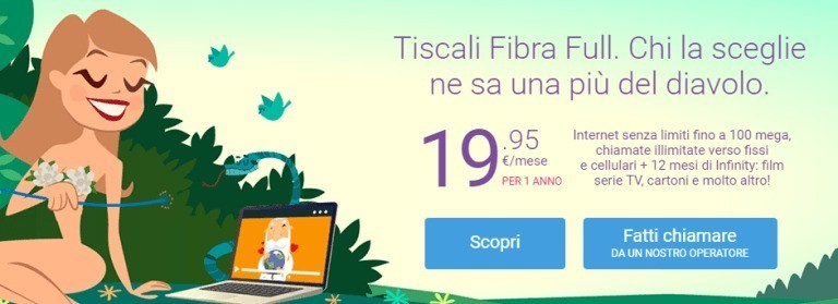Tiscali Fibra Full a €19.95 al mese per un anno