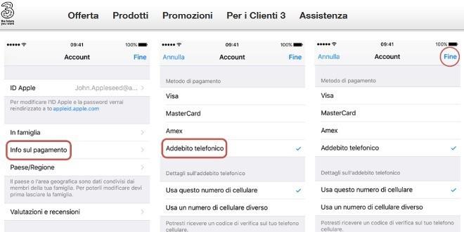 Fare acquisti nell'App Store di Apple tramite credito residuo 3 Italia, ecco come
