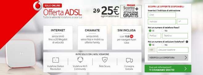 Vodafone Super ADSL: fino a 20 Mega, chiamate illimitate e sim 4G + attivazione gratuita