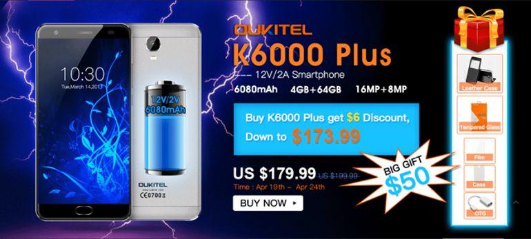 Nuova offerta OUKITEL K6000 Plus, a soli 173,99$ con pack bonus in regalo da 50$