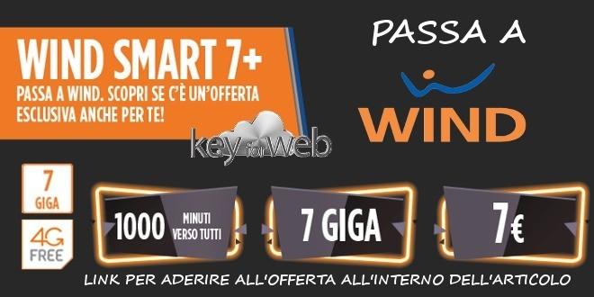 Promozione per passare a Wind con Smart 7+: 1000 minuti +7GB a 7€, link per aderire online