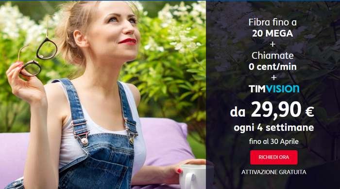 Nuovissime offerte Tim Smart Fibra Edition fino al 30 aprile e tre mesi di prova gratuita 100 MB