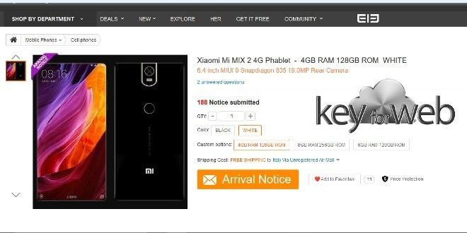 """Xiaomi Mi Mix 2: svelate le caratteristiche del nuovo smartphone """"senza cornici"""""""