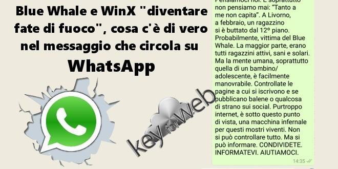 """Blue Whale e WinX """"diventare fata di fuoco"""", cosa c'è di vero nel messaggio che circola su  WhatsApp"""