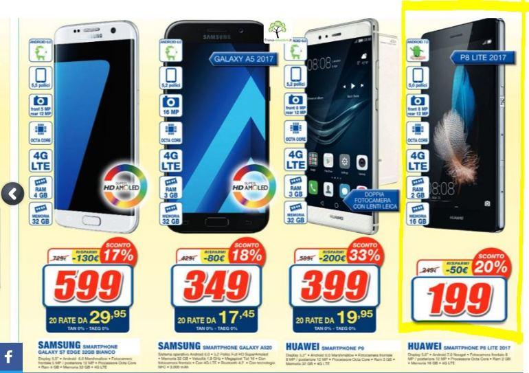 Annunciato sottocosto Huawei P8 Lite 2017: miglior prezzo volantino Euronics fino al 22 maggio
