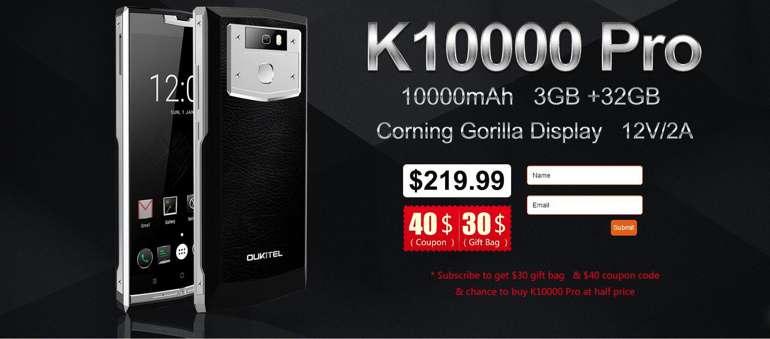 Strepitosa offerta OUKITEL K10000 Pro a metà prezzo (solo selezionati) tramite una simpatica iniziativa