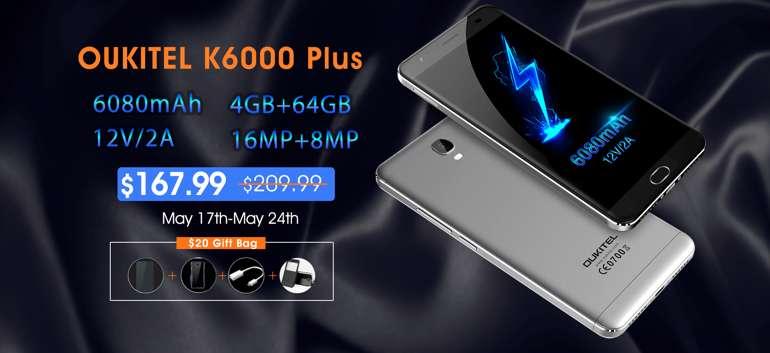 Nuovo aggiornamento software per OUKITEL K6000 Plus e vendita flash a 167,99$