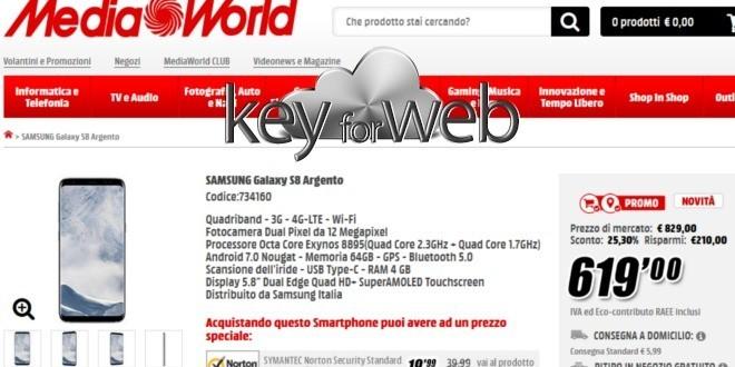 MediaWorld, super offerta Samsung Galaxy S8 a 619€, miglior prezzo in rete
