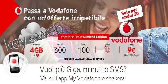 Imperdibile offerta Vodafone per gli under 30: Shake Limited Edition a 9€