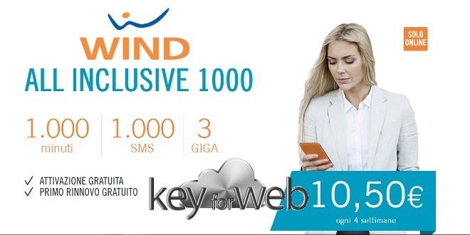 Wind All Inclusive 1000: 1000 minuti+SMS+3GB a 10,50€ prime 4 settimane GRATIS, link per aderire all'offerta online