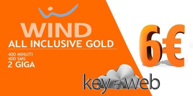 Wind All Inclusive Gold di nuovo attivabile con codice coupon da regalare: 400 minuti, SMS +2GB a 6€
