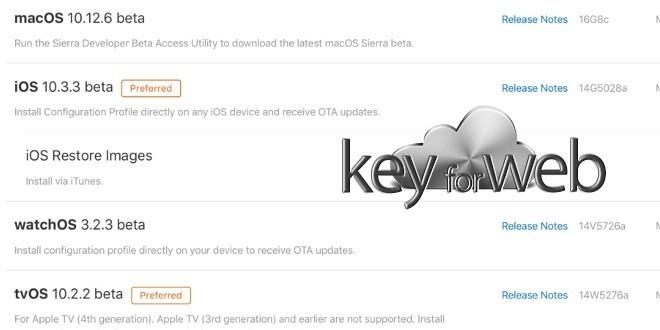 Rilasciate le seconde beta di iOS 10.3.3, watchOS 3.2.3, tvOS 10.2.2 e macOS 10.12.6