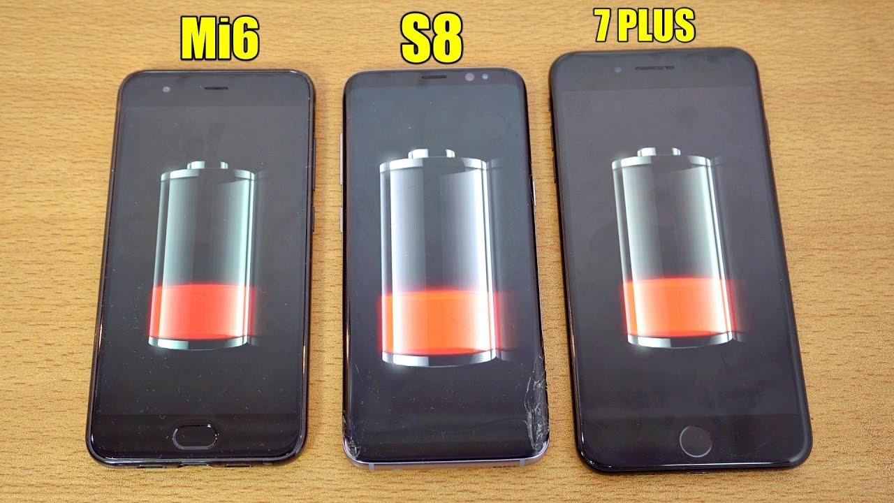 Xiaomi Mi 6 vs Samsung Galaxy S8 vs iPhone 7 Plus: test batteria