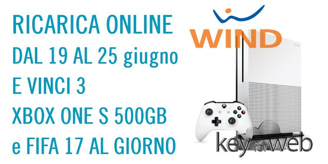 Con Wind Ricarica Online si può vincere una Xbox One S 500GB + FIFA 17