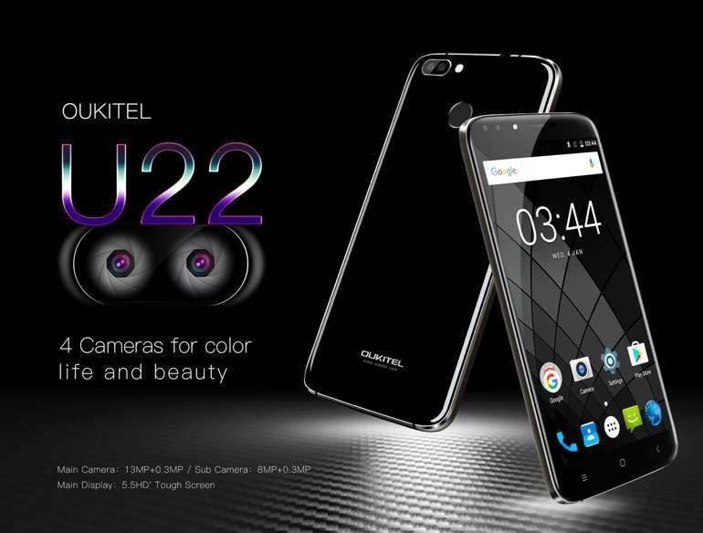 OUKITEL U22, rilasciate le specifiche complete del primo smartphone di casa con 4 fotocamere