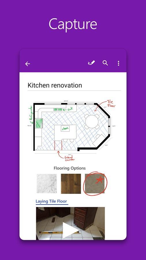 Nuova interfaccia con l'ultimo aggiornamento OneNote su Android