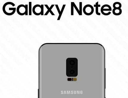 Samsung Galaxy Note 8: eccolo in un disegno schematico con Infinity Display e dual camera