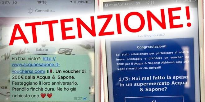 Voucher da 200 euro di Acqua&Sapone, ennesima truffa WhatsApp