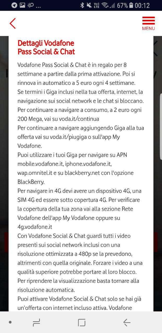 Vodafone Happy Friday del 23 giugno con: Vodafone Pass Social & Chat