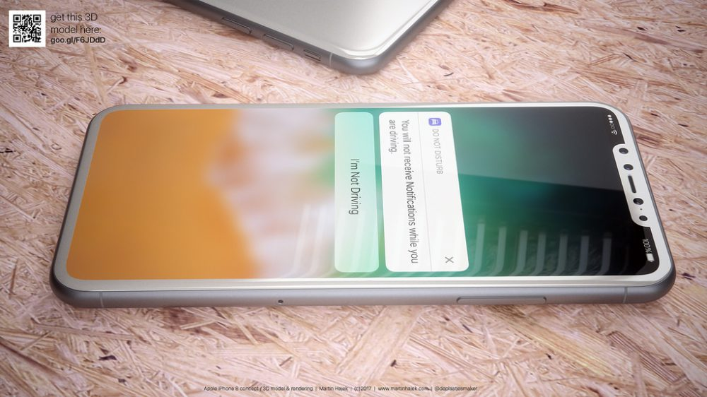 iPhone 8: render della versione bianca, corpo in vetro e cornici ridotte