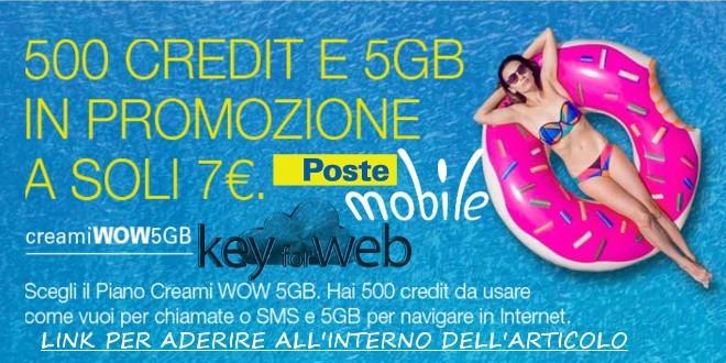 Passa a PosteMobile online con Creami WOW 5GB: 500 Credit +5GB a 7€, ecco il link