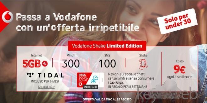 Prorogata la migliore offerta passa a Vodafone con Shake Limited Edition per gli Under 30