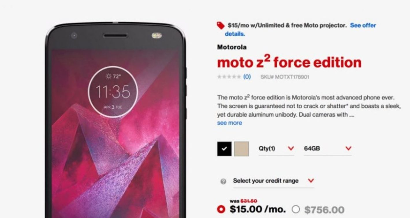 Svelato per errore anche il Motorola Moto Z2 Force Edition da Verizon