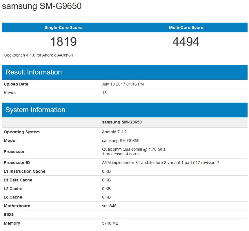GeekBench Galaxy S8 Lite
