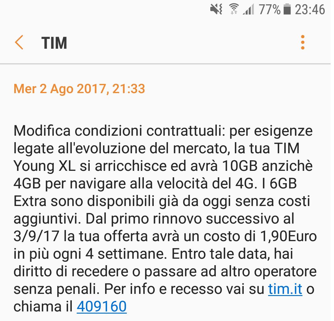 rimodulazione TIM Young XL