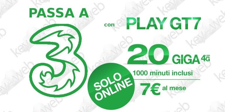 Incredibile offerta online per passare a Tre Italia con Play GT7 1000 minuti e 20GB a 7€, ecco il link per attivarla