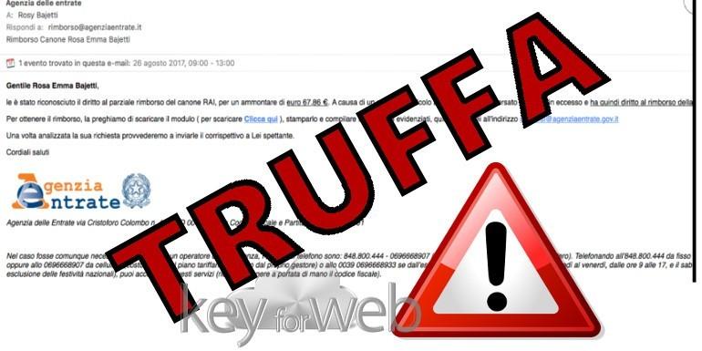 Parziale rimborso del canone RAI dall'Agenzia delle Entrate, occhio all'email truffa