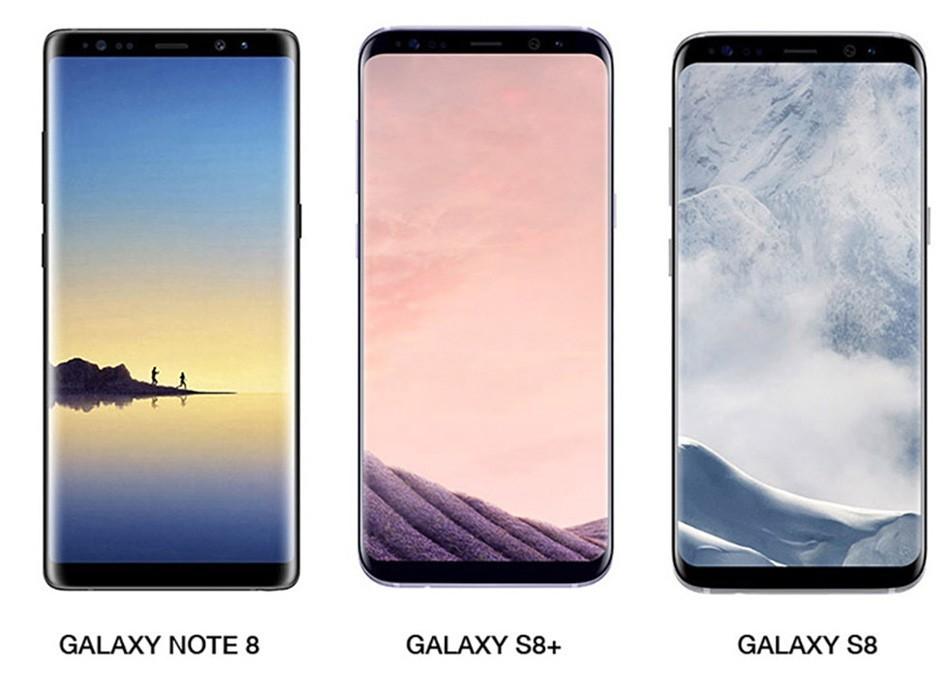 Samsung Galaxy Note 8 sfila insieme a Galaxy S8 ed S8+ mettendo in evidenza le poche differenze estetiche