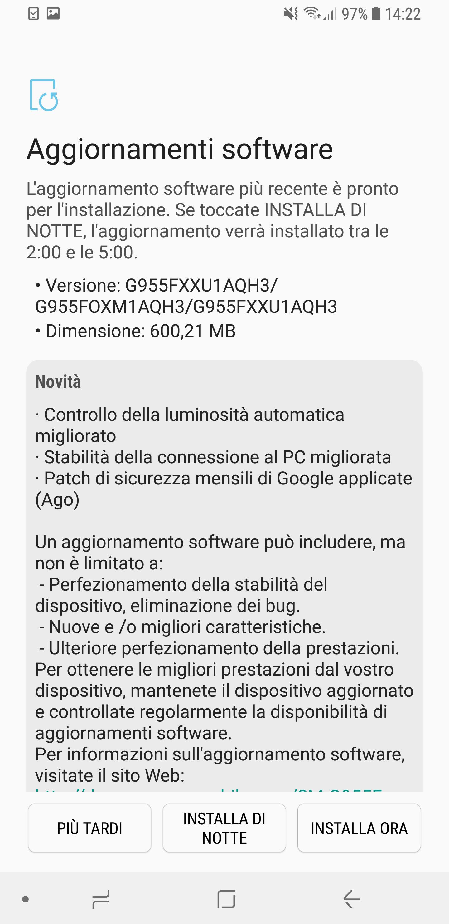 Aggiornamento Samsung Galaxy S8 +