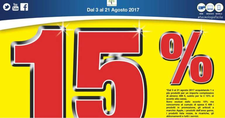Con il nuovo volantino Euronics continua il 15% di sconto alla cassa