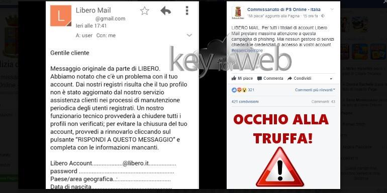 """""""Problema account Libero"""", occhio all'email truffa"""