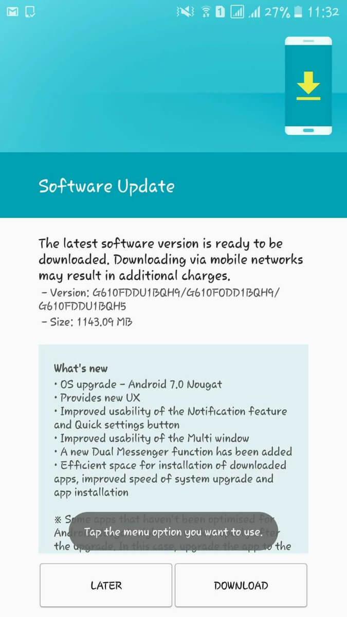 Aggiornamento Android Nougat per Galaxy J7 Prime